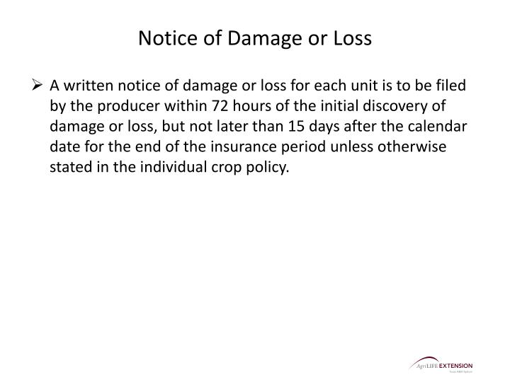 Notice of Damage or Loss