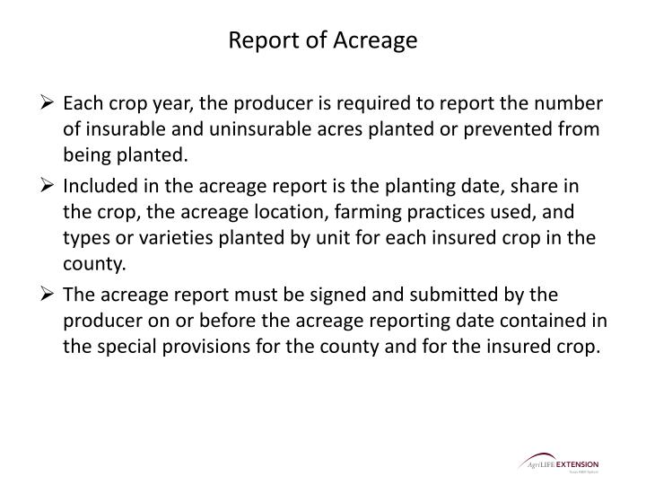Report of Acreage