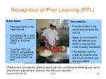 recognition of prior learning rpl