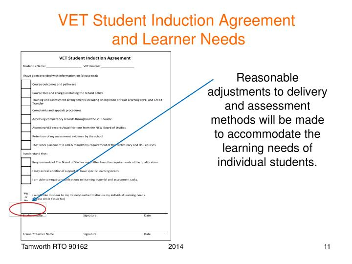 VET Student Induction Agreement