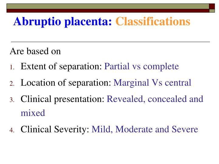 Abruptio placenta:
