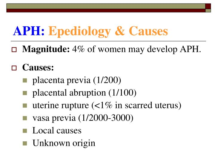 Aph epediology causes