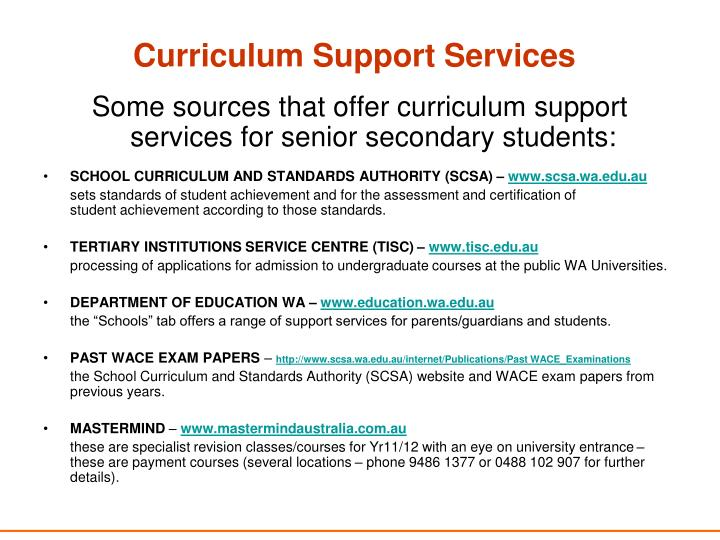 Curriculum Support Services