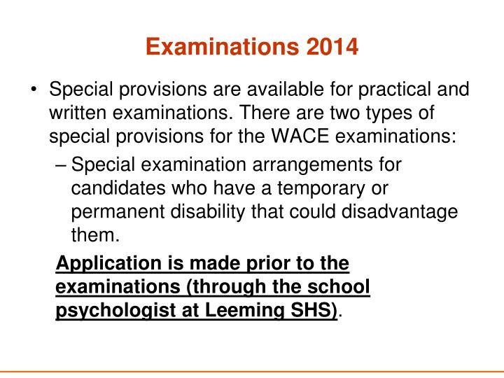 Examinations 2014