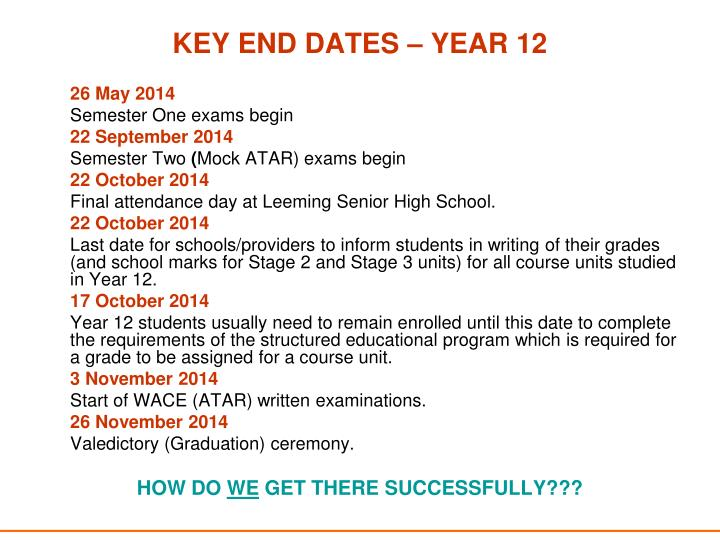 KEY END DATES – YEAR 12