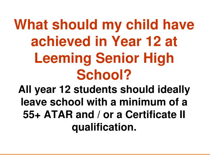 What should my child have achieved in Year 12 at Leeming Senior High School?