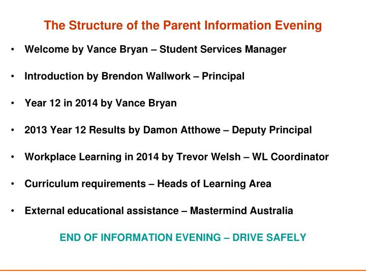The Structure of the Parent Information Evening