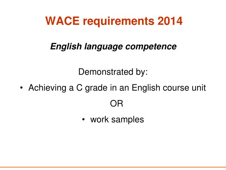 WACE requirements 2014