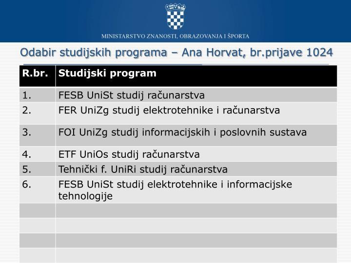 Odabir studijskih programa – Ana Horvat,