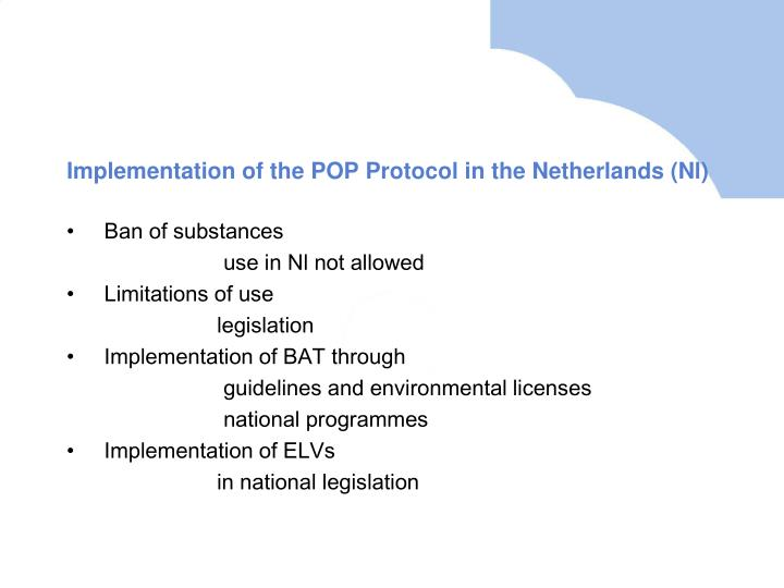 Implementation of the POP Protocol in the Netherlands (Nl)