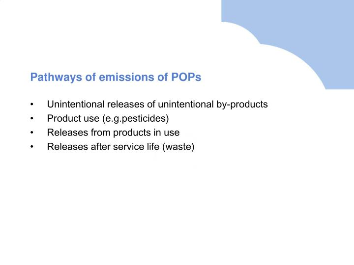 Pathways of emissions of POPs