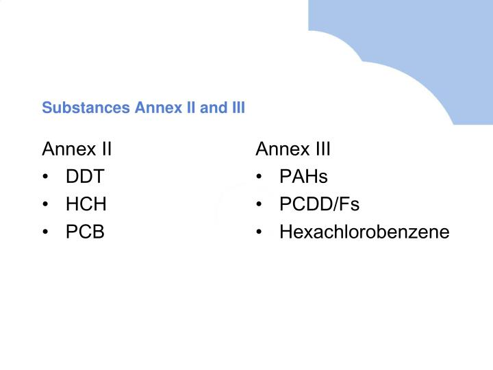 Substances Annex II and III