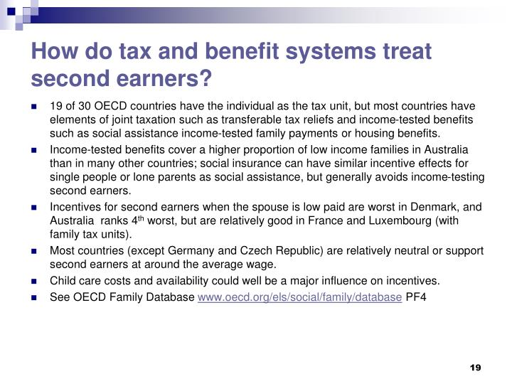 How do tax and benefit systems treat second earners?