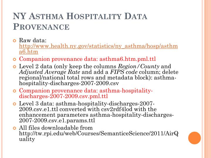 NY Asthma Hospitality Data Provenance