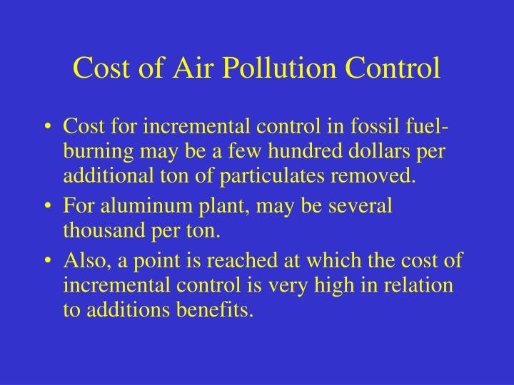 Cost of Air Pollution Control