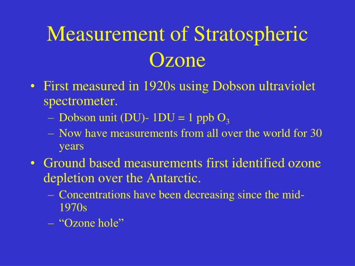 Measurement of Stratospheric Ozone
