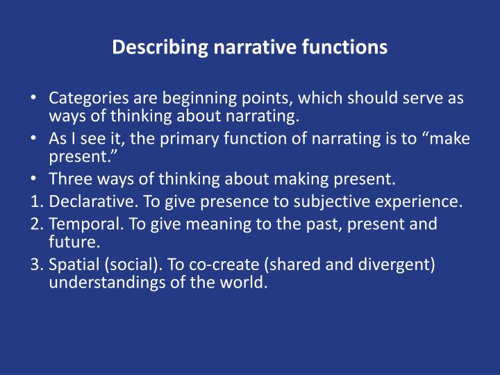 Describing narrative functions