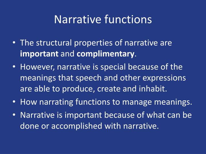 Narrative functions