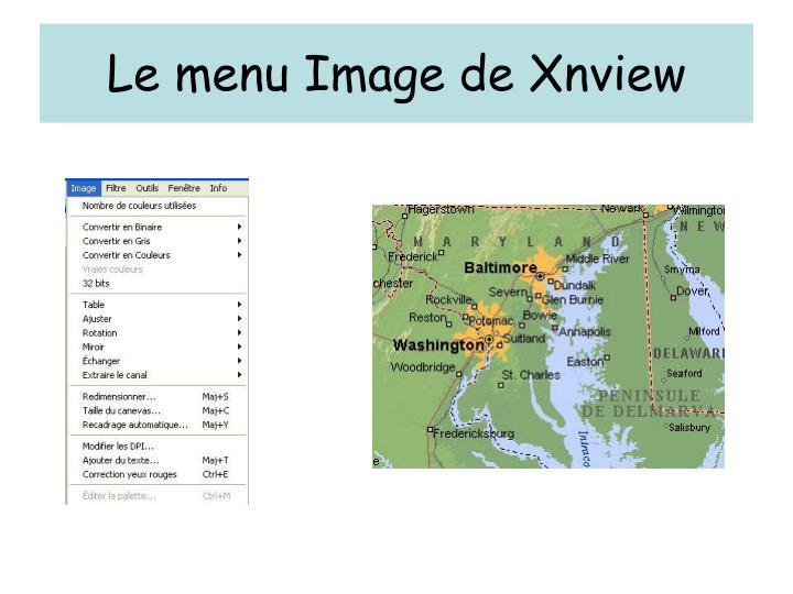 Le menu Image de Xnview
