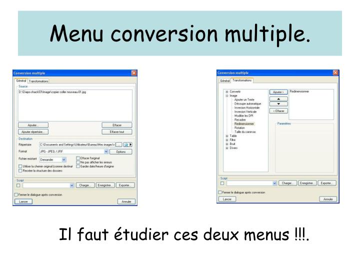 Menu conversion multiple.