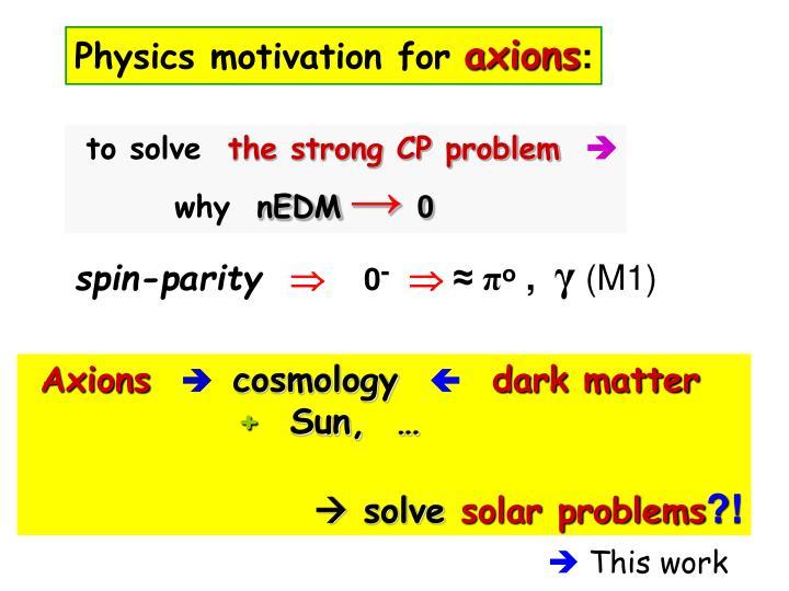 Physics motivation for