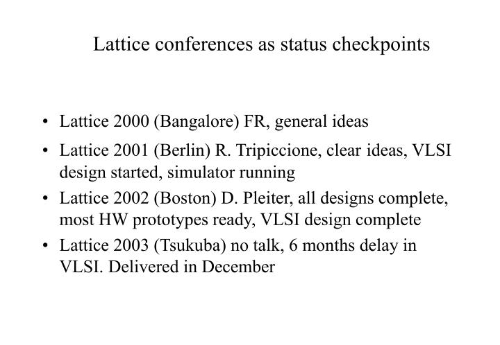 Lattice conferences as status checkpoints