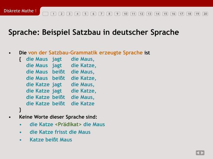 Sprache: Beispiel Satzbau in deutscher Sprache