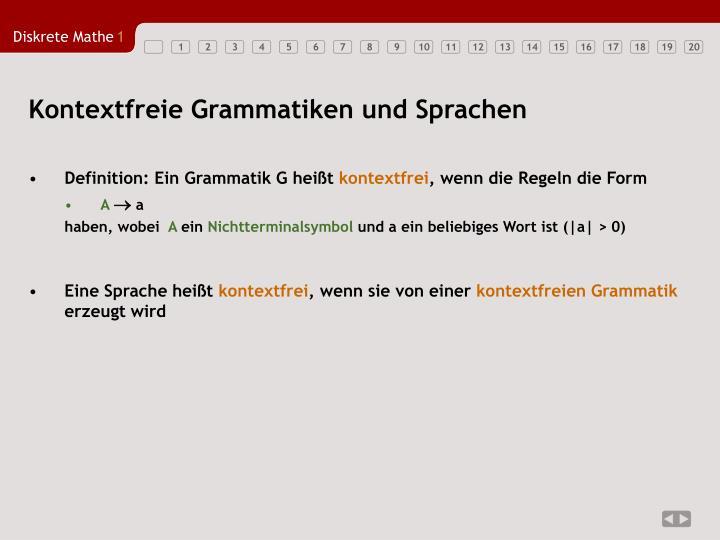 Kontextfreie Grammatiken und Sprachen