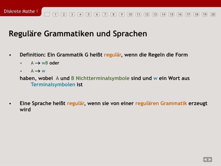 Reguläre Grammatiken und Sprachen