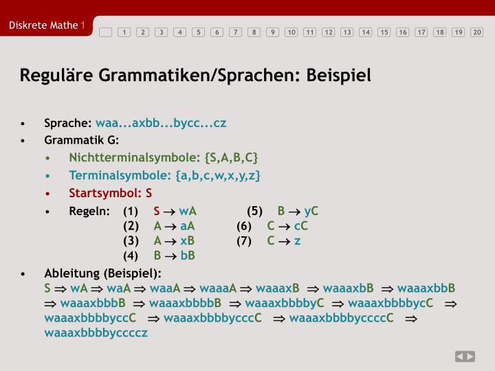 Reguläre Grammatiken/Sprachen: Beispiel