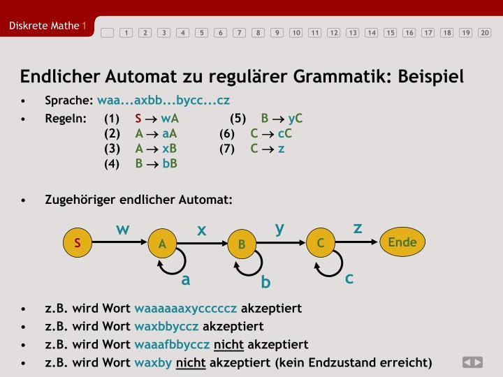 Endlicher Automat zu regulärer Grammatik: Beispiel