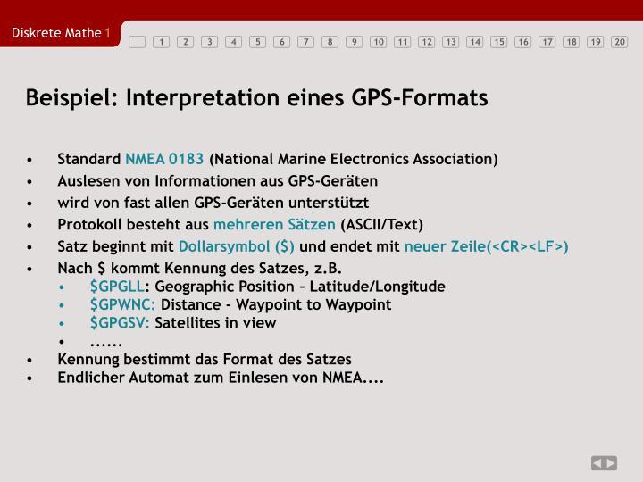 Beispiel: Interpretation eines GPS-Formats
