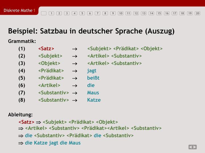 Beispiel: Satzbau in deutscher Sprache (Auszug)