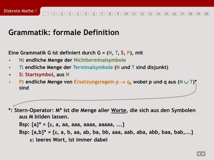 Grammatik: formale Definition