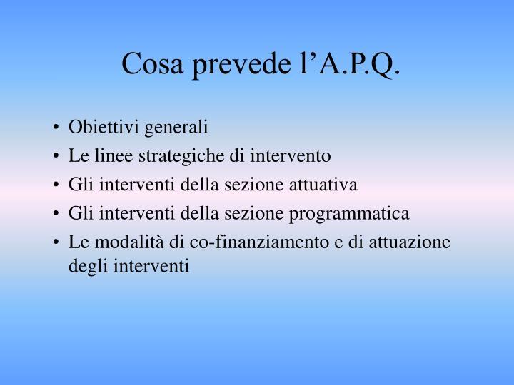 Cosa prevede l'A.P.Q.