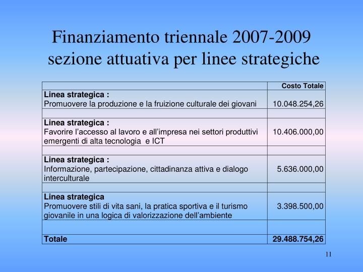 Finanziamento triennale 2007-2009