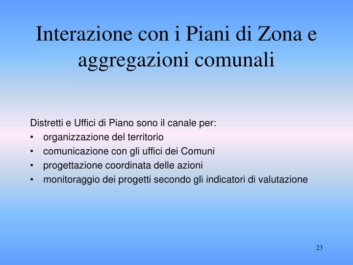 Interazione con i Piani di Zona e aggregazioni comunali