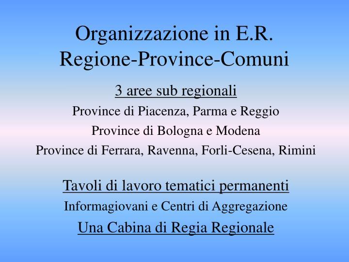 Organizzazione in E.R.