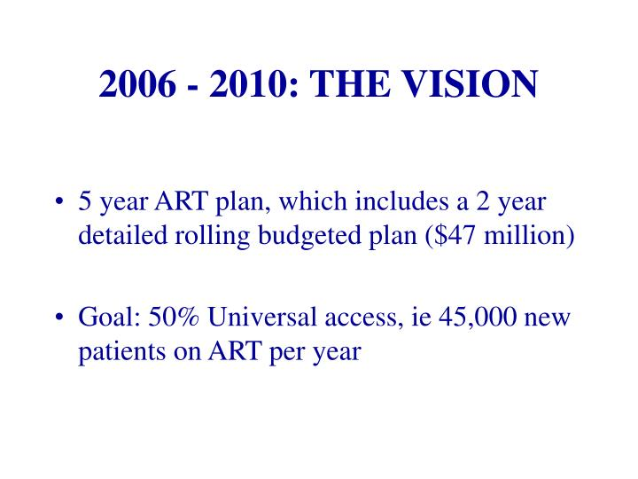 2006 - 2010: THE VISION