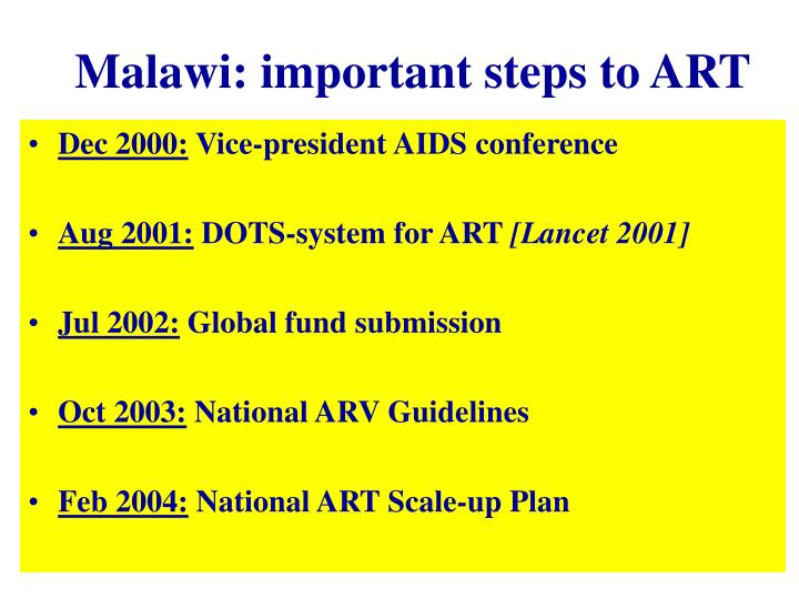 Malawi: important steps to ART