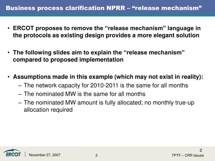Business process clarification nprr release mechanism