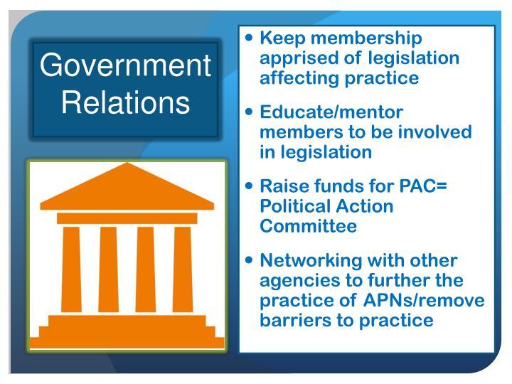 Keep membership apprised of legislation affecting practice