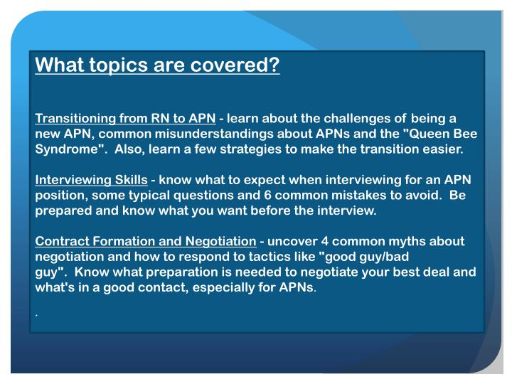 What topics are covered?