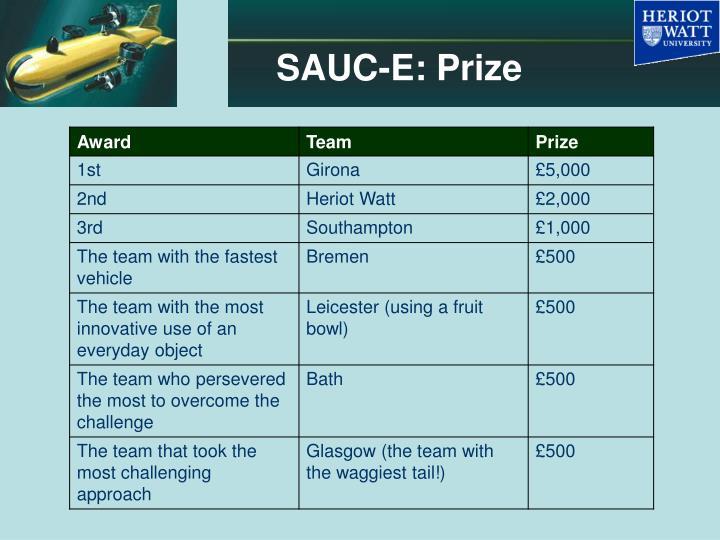 SAUC-E: Prize