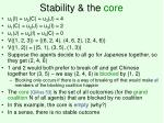 stability the core