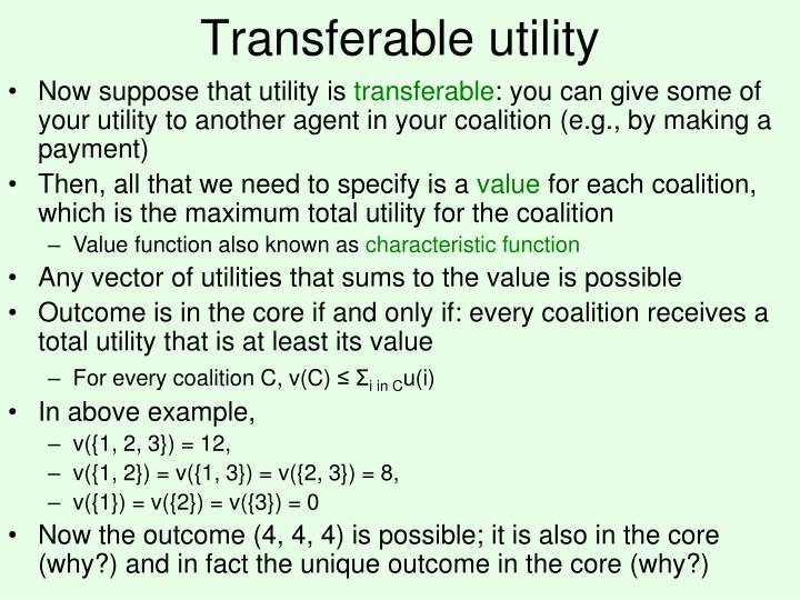 Transferable utility