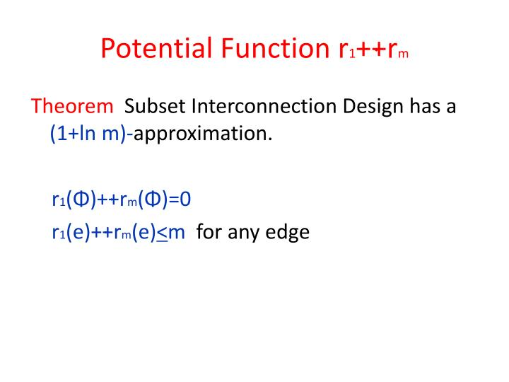 Potential Function r