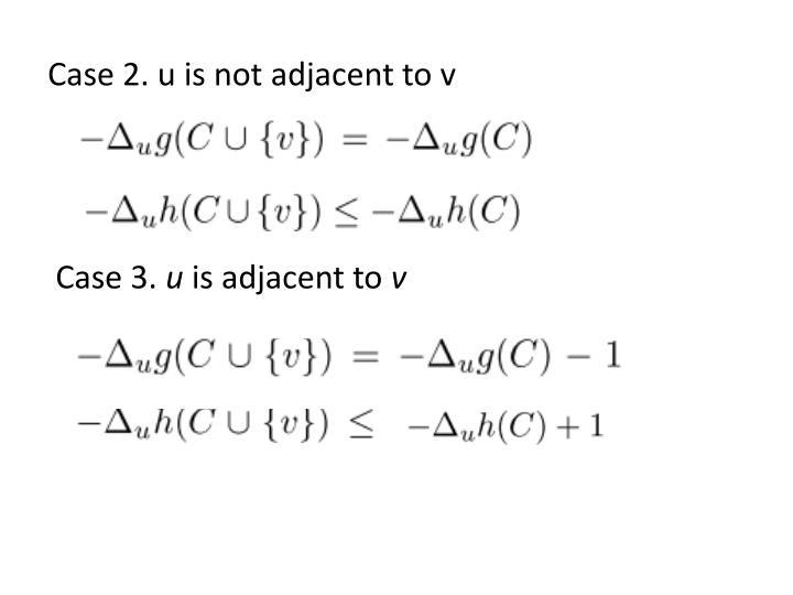 Case 2. u is not adjacent to v