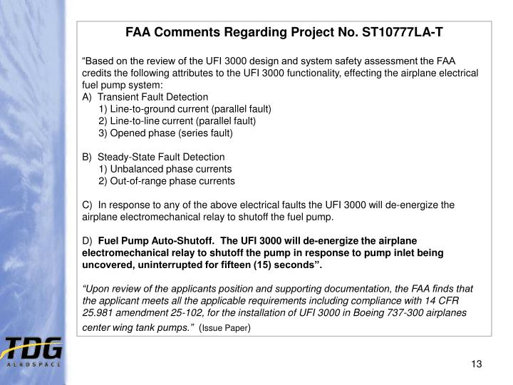 FAA Comments Regarding Project No. ST10777LA-T