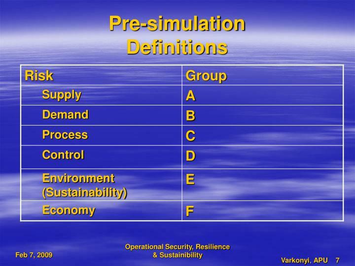 Pre-simulation